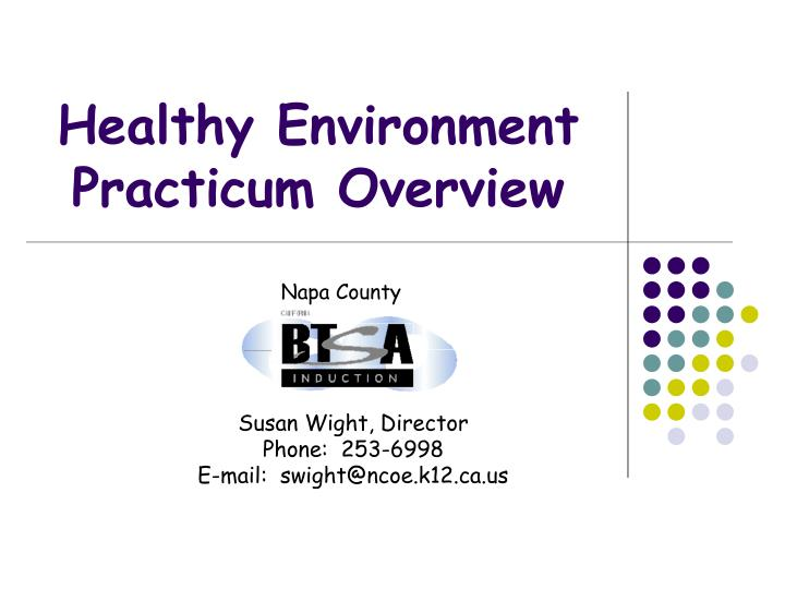 Healthy environment practicum overview