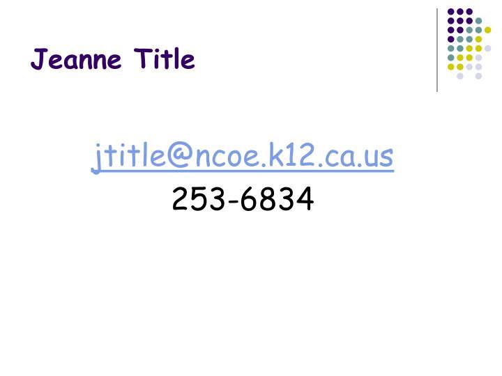 Jeanne Title