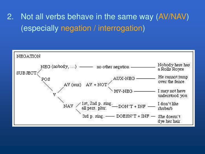 2. 	Not all verbs behave in the same way (