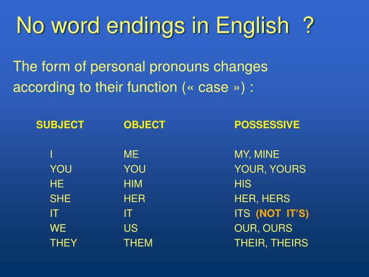 No word endings in English  ?