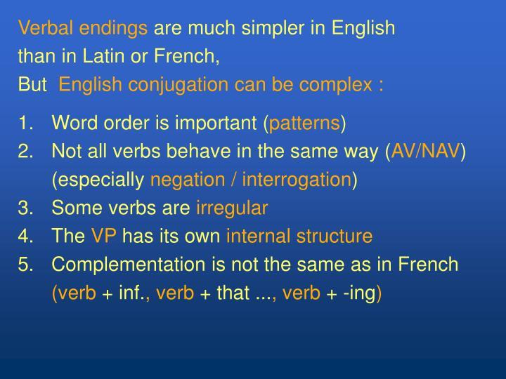 Verbal endings
