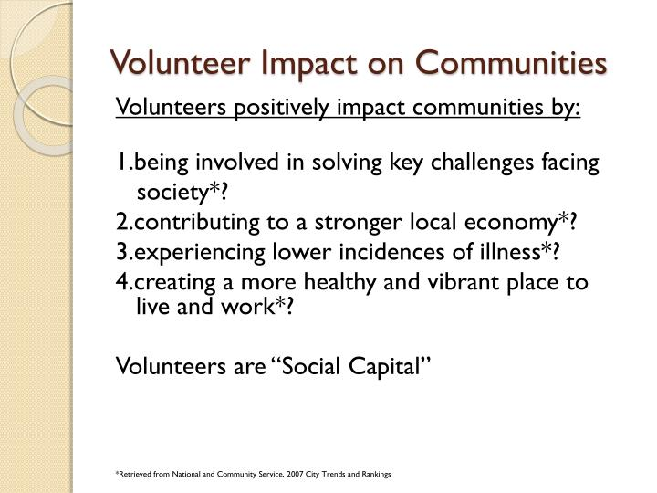 Volunteer impact on communities