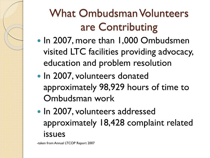 What Ombudsman Volunteers