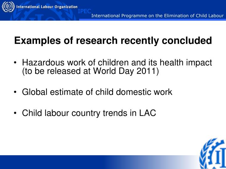 the examples of child labor in developing countries Nowadays, child labour is one of the most important problems in some countries and this problem tends to spread around the word day by day some researches indicate there are approximately 246 million children around the world whose ages are between 5 and 17 have to work in job in addition, nearly.