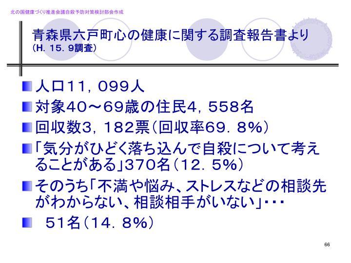 青森県六戸町心の健康に関する調査報告書より