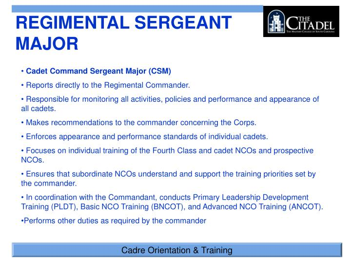 "the responsibilities of an nco accountability 1 the evolution of noncommissioned officers in training soldiers introduction emerging prominently from us army train ing doctrine is the relatively new role of senior noncommissioned officers (ncos) as ""master trainers"" senior non- commissioned officers at the battalion and company level hold primary responsibility."