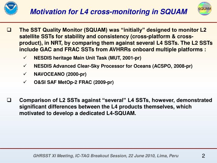 Motivation for L4 cross-monitoring in SQUAM