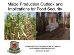 maize production outlook and implications for food security