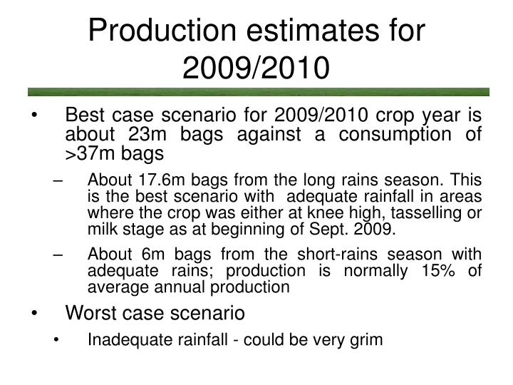 Production estimates for 2009/2010
