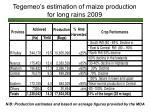 tegemeo s estimation of maize production for long rains 2009