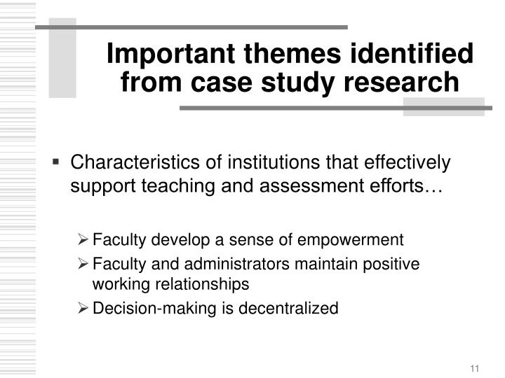 Important themes identified from case study research