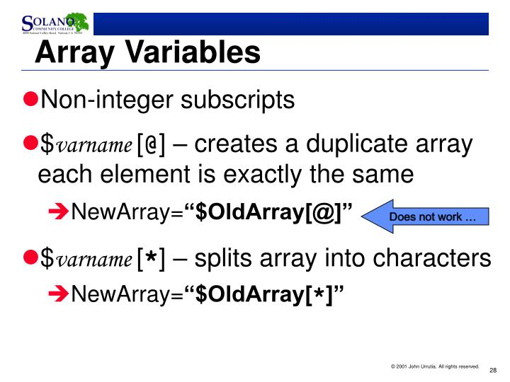 Array Variables