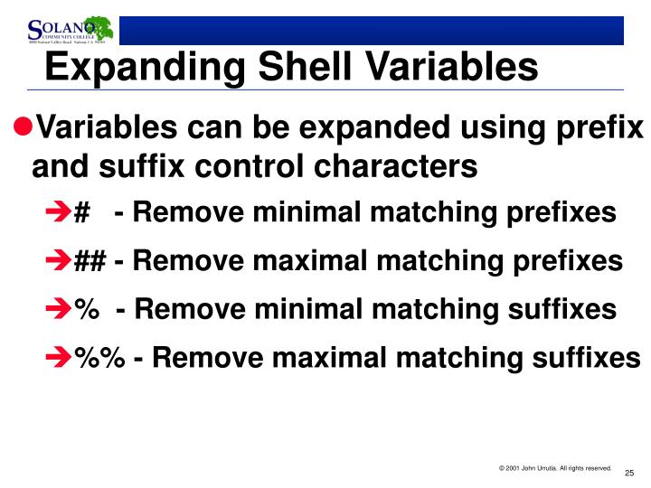 Expanding Shell Variables