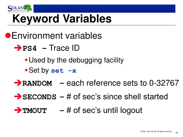 Keyword Variables