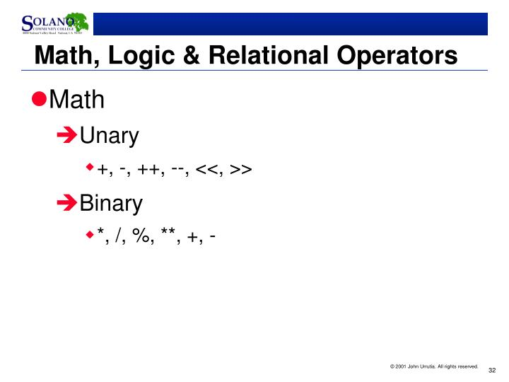 Math, Logic & Relational Operators