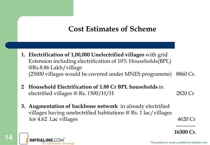 Cost Estimates of Scheme