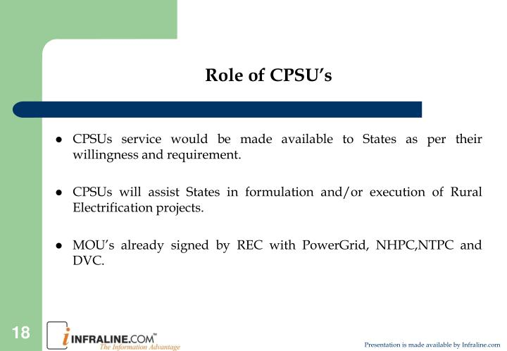 Role of CPSU's