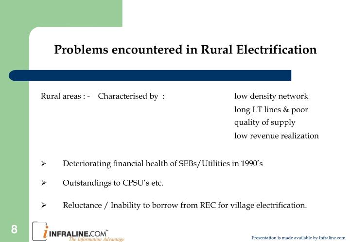 Problems encountered in Rural Electrification