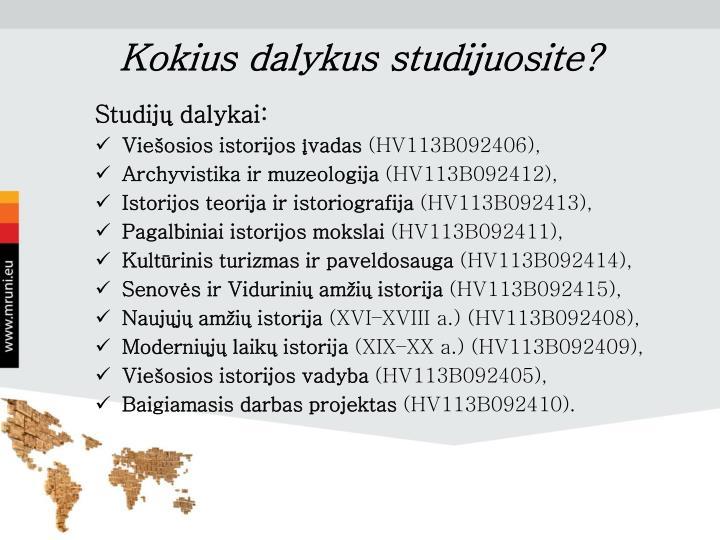 Kokius dalykus studijuosite?