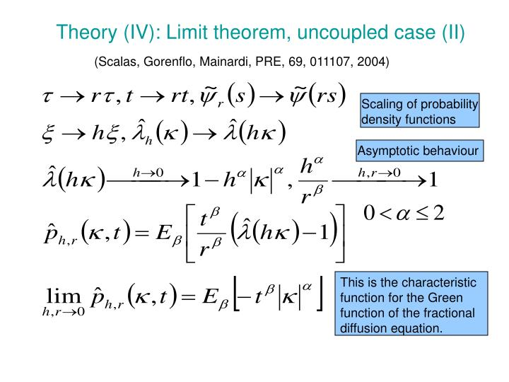 Theory (IV): Limit theorem, uncoupled case (II)