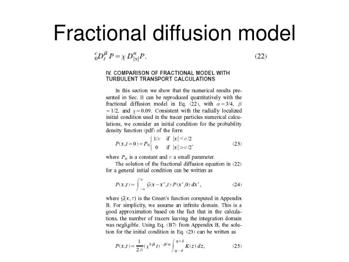 Fractional diffusion model