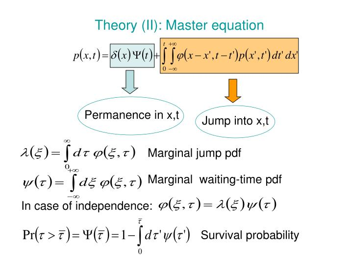 Theory (II): Master equation