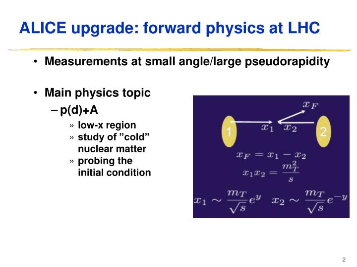 ALICE upgrade: forward physics at LHC