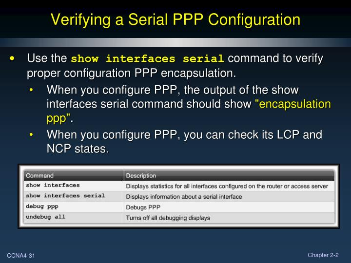Verifying a Serial PPP Configuration