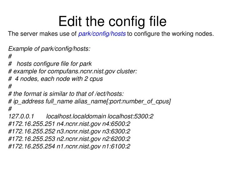 Edit the config file