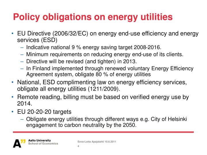 Policy obligations on energy utilities