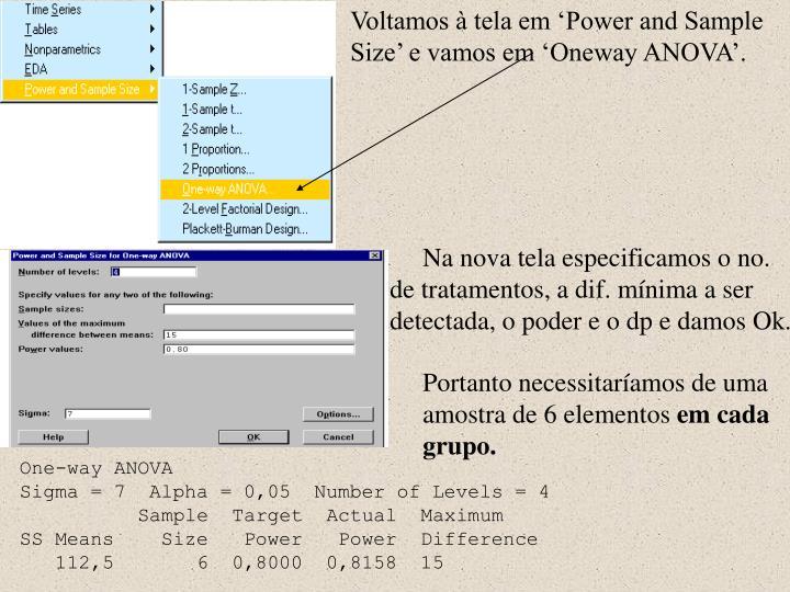 Voltamos à tela em 'Power and Sample Size' e vamos em 'Oneway ANOVA'.