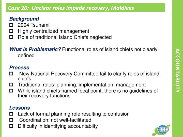 Case 20:  Unclear roles impede recovery, Maldives