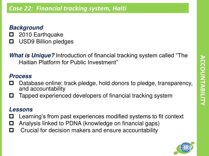 Case 22:  Financial tracking system, Haiti