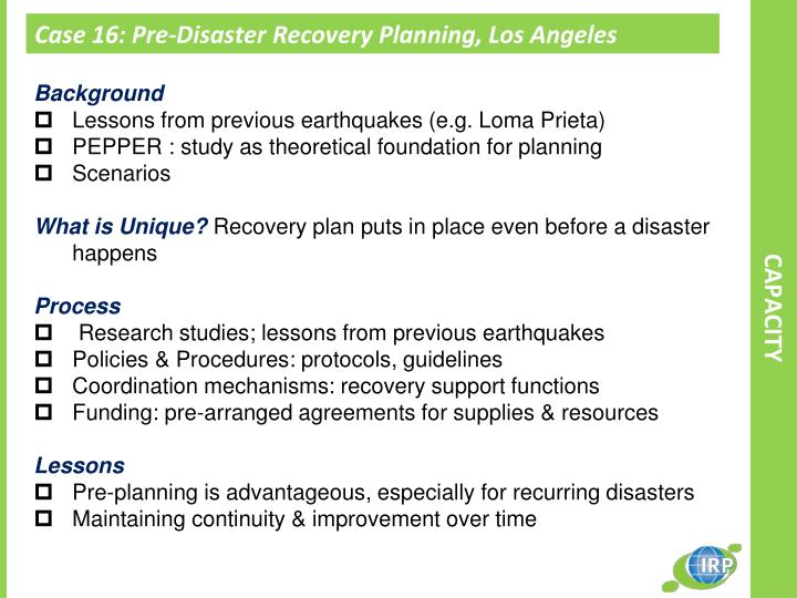 Case 16: Pre-Disaster Recovery Planning, Los Angeles