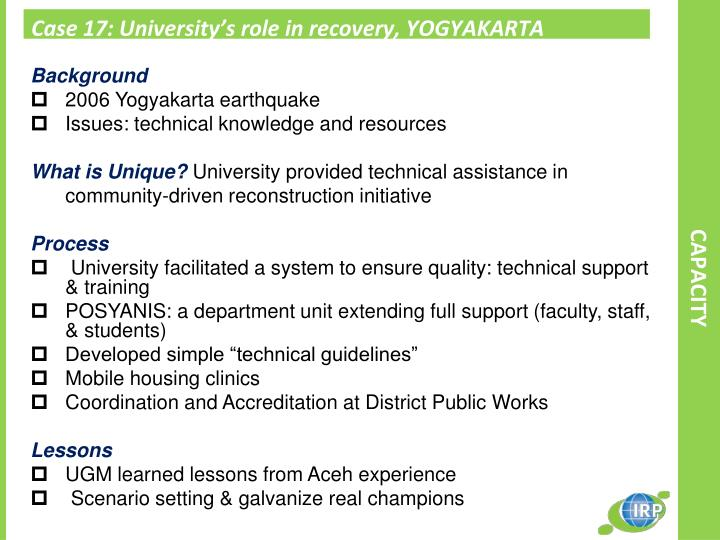 Case 17: University's role in recovery, YOGYAKARTA