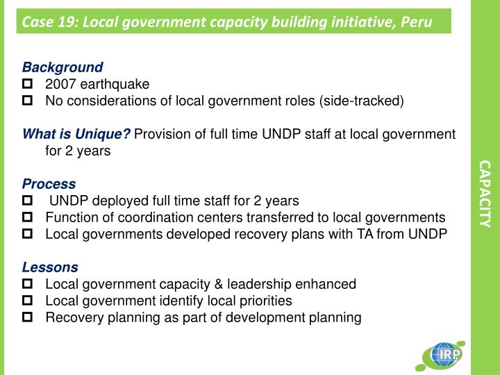 Case 19: Local government capacity building initiative, Peru