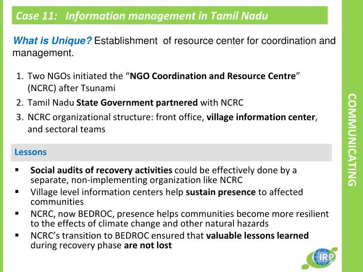 Case 11:   Information management in Tamil Nadu