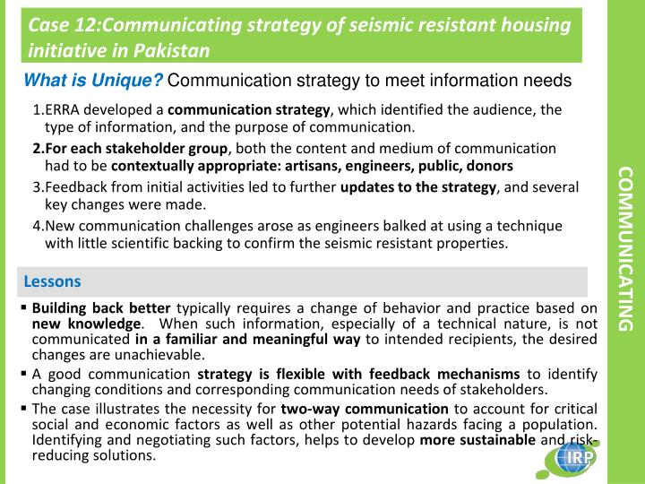 Case 12:Communicating strategy of seismic resistant housing initiative in Pakistan