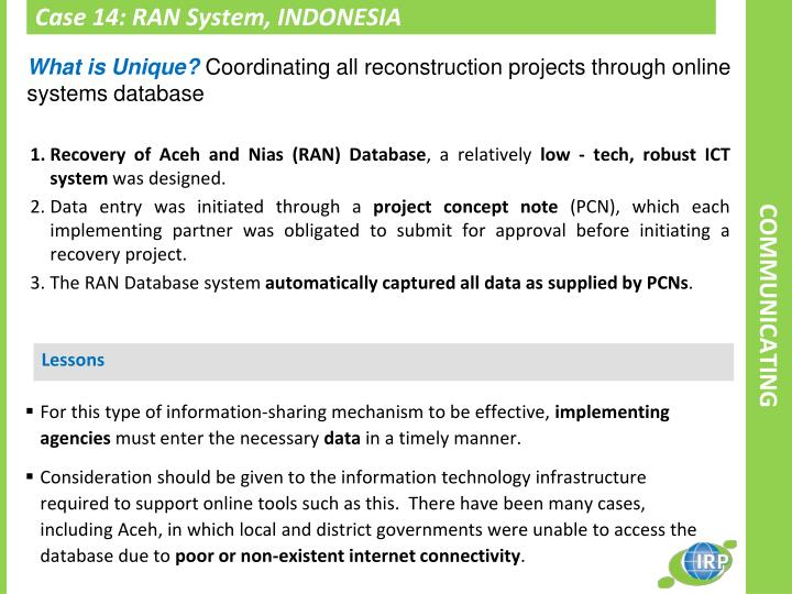 Case 14: RAN System, INDONESIA