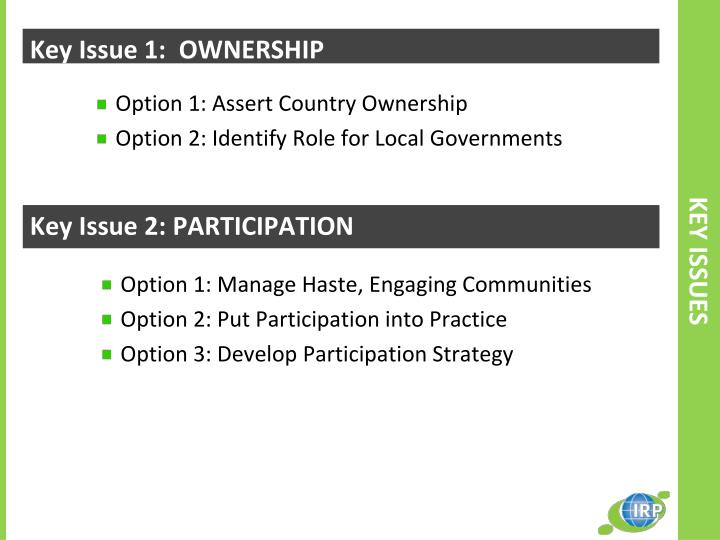 Key Issue 1:  OWNERSHIP