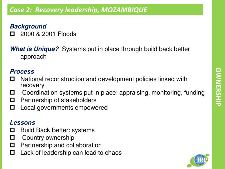 Case 2:  Recovery leadership, MOZAMBIQUE