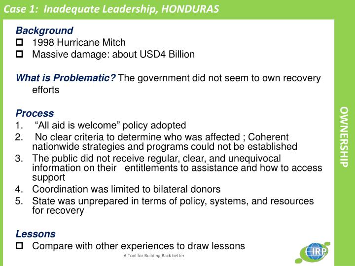 Case 1:  Inadequate Leadership, HONDURAS