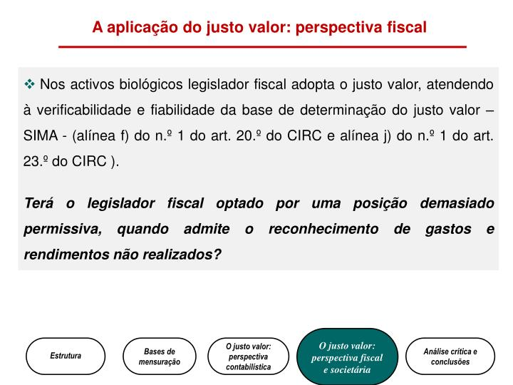 A aplicação do justo valor: perspectiva fiscal