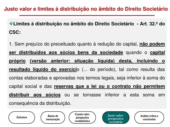 Justo valor e limites à distribuição no âmbito do Direito Societário