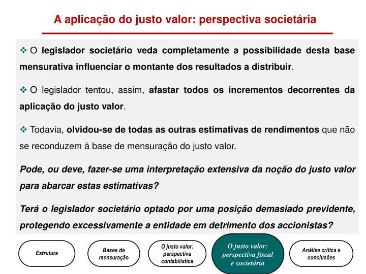 A aplicação do justo valor: perspectiva societária