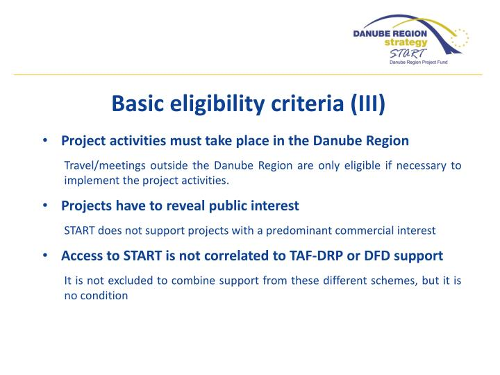 Project activities must take place in the Danube