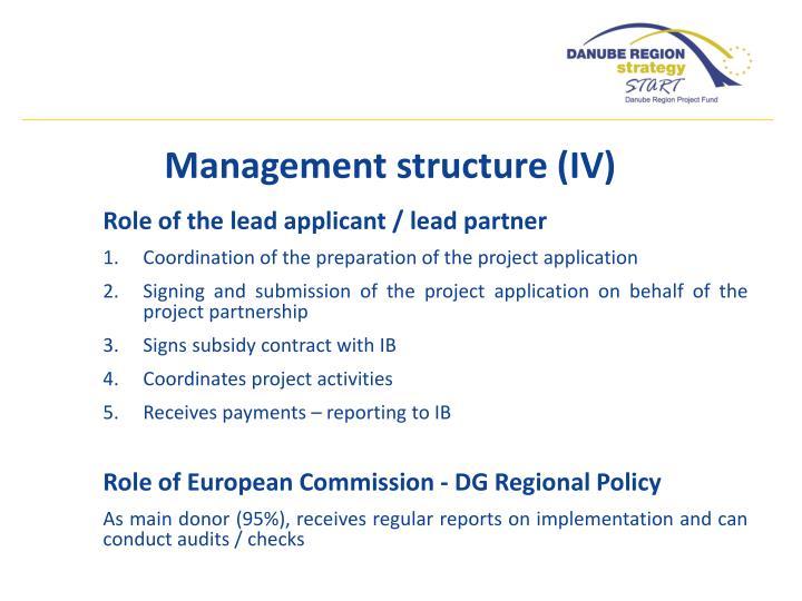 Management structure (IV)
