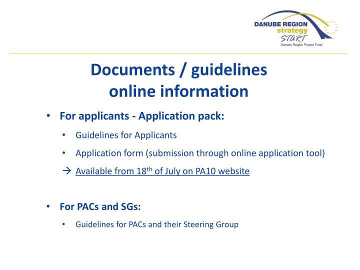 Documents / guidelines