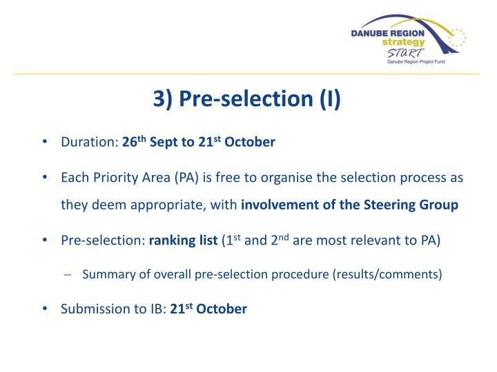 3) Pre-selection (I)