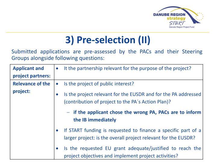 3) Pre-selection (II)